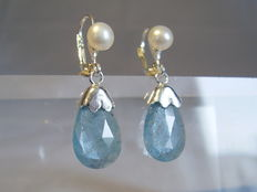 Silver earrings with genuine, verified aquamarines of 7.0 ct in total.