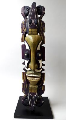 Wall mask with protection birds en crocodiles - Chambri lake - Papua New-Guinea
