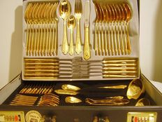 Cutlery set SBS 23/24 carat hard gold plated 69-part for 12 persons in the original leather briefcase with combination lock.