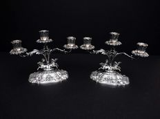 Pair of silver 3 branch candelabras with 8 horses, Italy, mid 20th c.