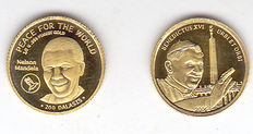 "Gambia and Cook Islands – 200 Dalasis 2014 ""Nelson Mandela"" and 1 Dollar 2006 ""Pope Benedict"" – Gold"