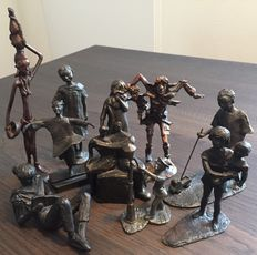Collection of 10 bronze statues