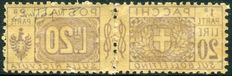 Kingdom of Italy - Victor Emmanuel II - Savoy postal parcels - 20 lire - brown and violet with decalc - Sassone no.   19K