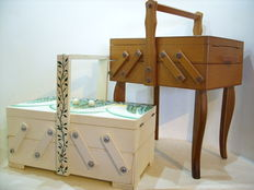 Two beautiful sewing boxes made of solid wood