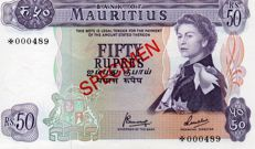 Mauritius - Specimen set - 5, 10, 25 y 50 rupees (1978) - Pick CS1 - Franklin Mint set.