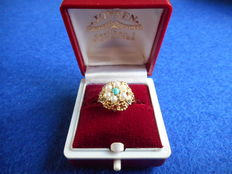 14 kt Gold ring with 7 pearls, ring size: 17 mm