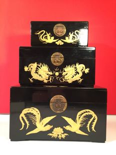 Three lacquered wood boxes – China – Second half of the 20th Century