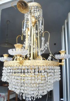 Bronze chandelier - adorned with crystal chains and drops