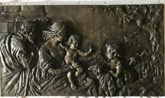 Cast bronze plate with bas-relief, 19th century, depicting the Holy Family - Italy