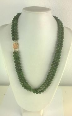 Jade necklace (2-strand) with 14 kt yellow gold luxurious clasp; necklace length is 60 cm