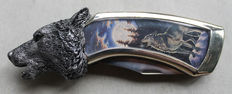 """Franklin Mint - Collector's pocket knife - Wolf's head """"Howling wolf"""""""