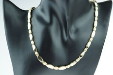 14 kt gold women's necklace, matte and shine links, length 45 cm