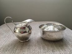 Silver cream jug, London 1902, and a sugar bowl, Birmingham 1915