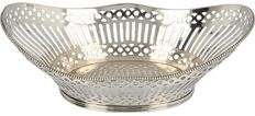 Silver chocolate basket with pearl rim, Schoonhoven, 1976