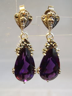 Earring with genuine amethyst droplets 8 ct and marcasites