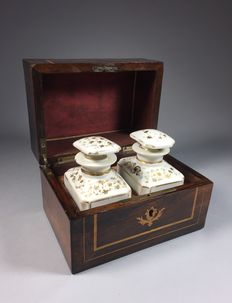 Rosewood veneered tea box with inlay and porcelain bottles - France - second half 19th century