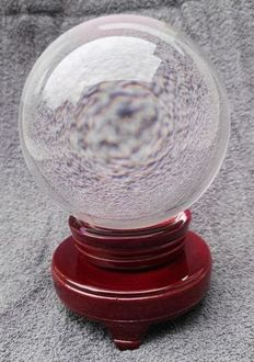 """Crystal Ball"" - sculpted, reconstituted Quartz, with polished hardwood foot - 13cm - 3000gm"