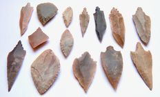 Lot with 14 arrowheads from Niger - 38-70 mm (14)
