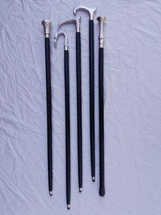 5 canes-black wooden stick