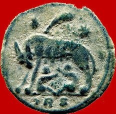 Roman empire - Urbs Roma follis (2,86 g,. 17 mm.) from Trier mint, 334 A.D.  She-Wolf and twins. TRS. Palm between stars. Scarce.