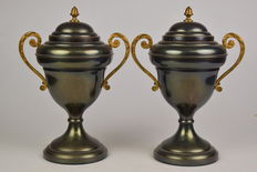 Two decorative ornamental cups, made of copper and brass, engraved on the front - France - first half of 20th century