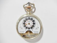 Antique Hebdomas pocket watch - 8 days - Cartouche dial - Engraved casing - Early 1900s