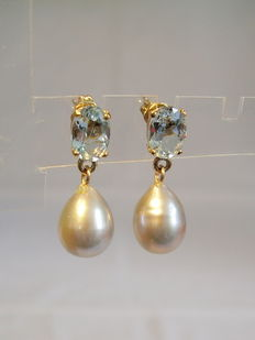 Gold earrings with certified aquamarines 1.5 ct and genuine light grey cultured pearls