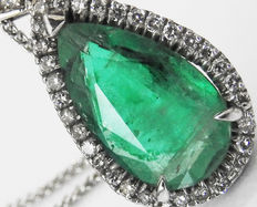 Golden Emerald Diamond Necklace Pendant