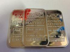 USA - 3 pieces - 1 ounce 999 silver bar - Johnson Matthey - with serial number