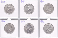 The Netherlands – 1 guilder 1847, 1848, 1851, 1854, 1856 and 1863 Willem II and III – silver