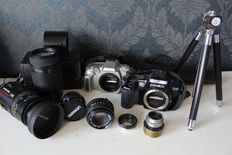 Canon, Minolta, Petri, Tamron - lot with various lenses and bodies