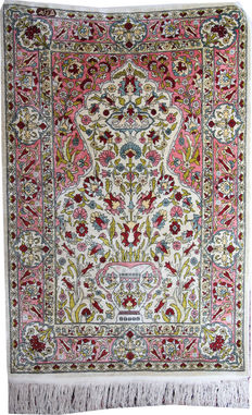 "Turkish Hereke silk rug size 100cm x 65cm (3'3""x2' roughly 1000000 KPSI sq meter"