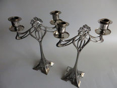 WMF - A pair of Art Nouveau silver plated candlesticks
