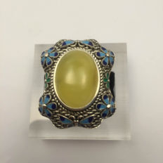 925 silver cloisonné enamel amber ring, weight 16.2 grams, no reserve price