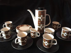 Vintage brown JG meakin studio design retro chick art deco coffee set