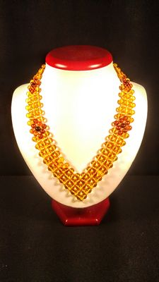 Baltic amber colourful round beaded necklace, 38 grams