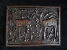Lambertus Zijl (1866-1947) - oak relief of does in a forest - with monogram and dated