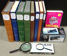 Western Europe - Collection in 8 stock books + Michel catalogue, magnifying glass and fluorescent light