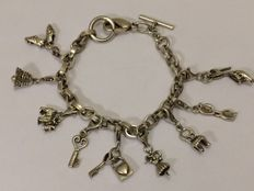 Solid 925 silver charm bracelet with 10 charms – Length 20 cm
