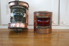 2 red copper ship lamps