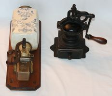 Two retro coffee grinders - wall model - mid 20th century.