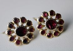 Antique Earrings with Garnets approx. 4 ct., Bohemia.