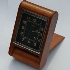 Jaeger-LeCoultre  Alarm/ Desk Leather Clock , C. 1930