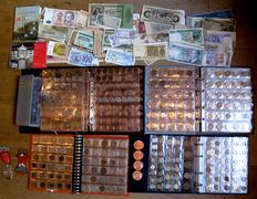 World – Batch of coins, bank notes and various 1861/2015 (approx. 950 pieces) including silver in albums, booklet and separate