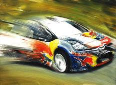 Sébastien Loeb Citroen DS3 WRC Rally Race Car - Art Print Poster - Hand signed by Artist Andrea Del Pesco + COA.