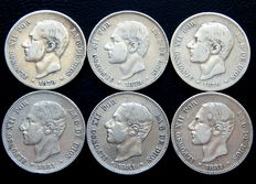 Spain – Alfonso XII – Lot of 6 coins of 2 silver pesetas – Years 1879 (3) and 1881 (3)