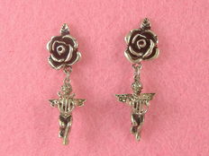 Silver earrings with diamonds - Early 1900s