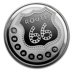 USA Sunshine Minting - 1 oz 999 silver coin route 66-90 years route 66 - Prooflike finish