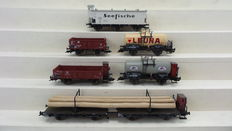 Fleischmann H0 - 5420K/5430K/5711K/5381K/5709K/5252K - 6 Goods wagons, Open boxcars, Closed, Flatbed, tanker wagons, four with brakeman's cab of the DR