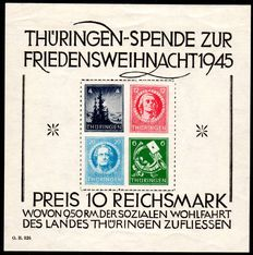 Soviet Zone 1945 - donation for peaceful Christmas Thuringia, block on white paper, Michel 2x